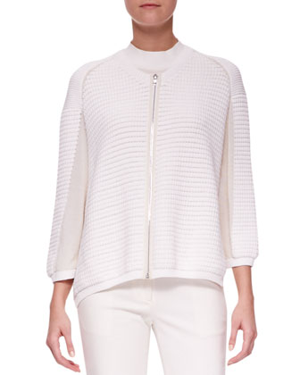 Zip-Up Paneled Cardigan, Cap-Sleeve Silk Top & Classic Ankle Pencil Pants