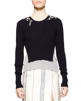 Wisteria Knit-Front Combo Dress and Momoko Embellished Cropped Sweater