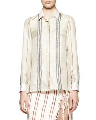 Chika Long-Sleeve Striped Blouse