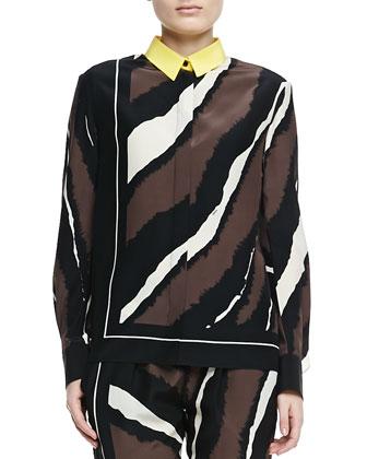 Zebra-Print Contrast-Collar Silk Shirt