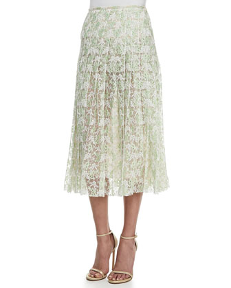 Flower Sweatshirt & Plasma Pleated Lace Midi Skirt