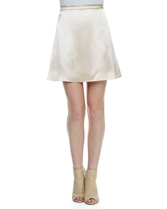 Cutaway Bejeweled Sweatshirt & High-Shine Short A-Line Skirt