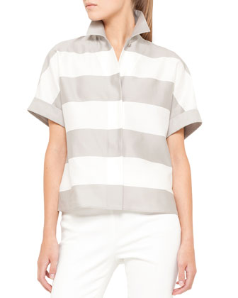Short-Sleeve Awning Stripe Blouse