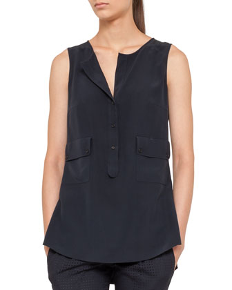 Sleeveless Pocket Popover Blouse