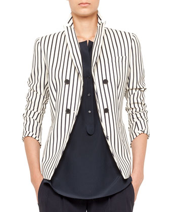 Striped Double-Breasted Blazer, Sleeveless Popover Blouse & Miranda ...