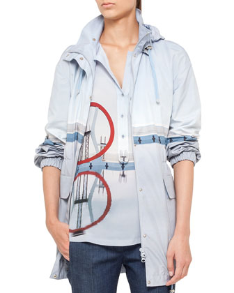 Diving Board Printed Anorak, Popover Blouse & Cropped Denim Pants