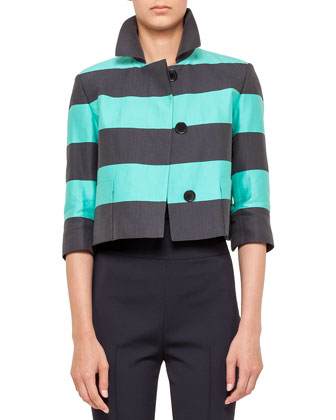 Cropped Bold Stripe Jacket