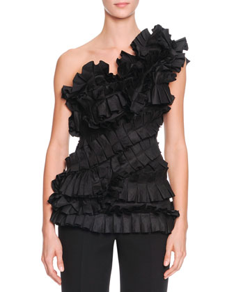 One-Shoulder Ruffle Bustier