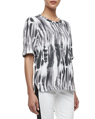 Feather-Print Sponge Top, White/Black