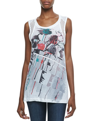 Aquarelle Printed Mesh-Panel Tank Top