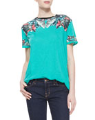 Bacchante Butterfly Printed Cotton T-Shirt