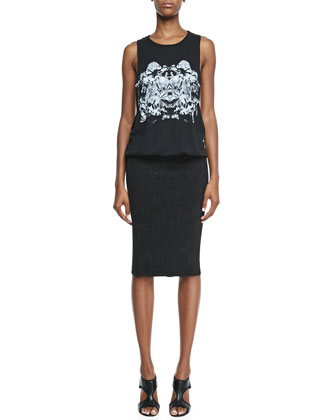 Printed Tank & Pencil Skirt Dress, Black