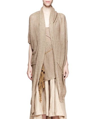 Short-Sleeve Cozy Cardigan, Sisal