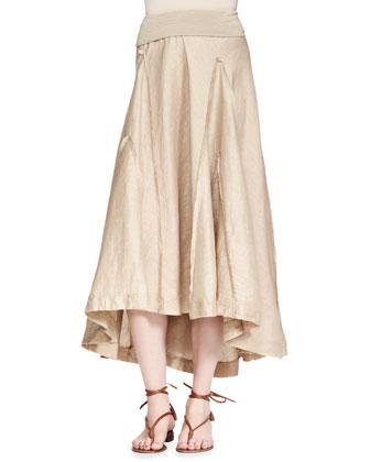 Fold-Over Linen-Blend A-Line Skirt, Tan