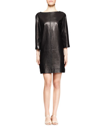 Letacey Whipstitch Leather Dress