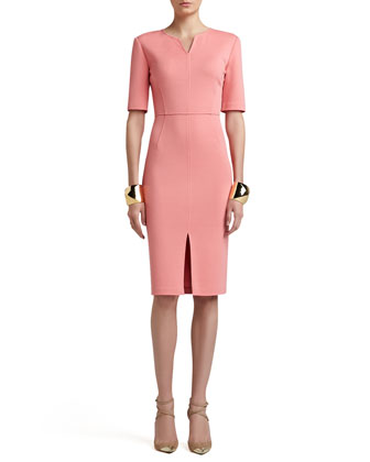 Milano Knit V-Neck Half-Sleeve Fitted Dress