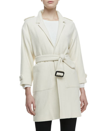 3/4-Sleeve Cashmere Tie Jacket, White