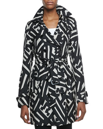 Printed Silk Trench Coat, Black/White