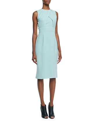 Sleeveless Silk Cady Dress, Green Opal