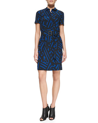 Short-Sleeve Printed Silk Shirtdress, Blue
