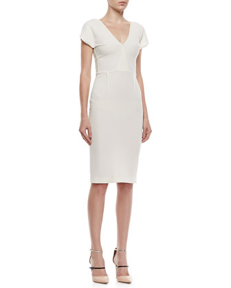 Afyon Stretch Double-Crepe Dress, Off-White