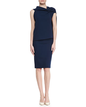 Eugene Drape-Front Open-Back Top & High-Waist Wool Crepe Pencil Skirt
