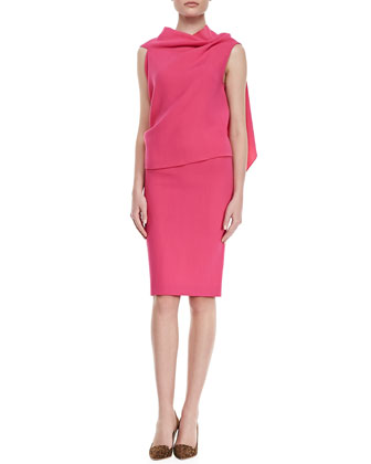 Eugene Drape-Front Open-Back Top, Pink