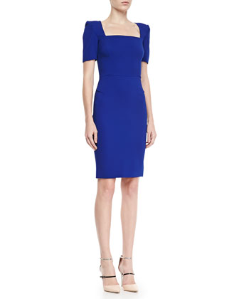 Parabia Square-Neck Peaked-Shoulder Dress, Electric Blue
