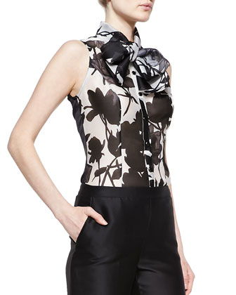 Sleeveless Rose-Print Tie Blouse