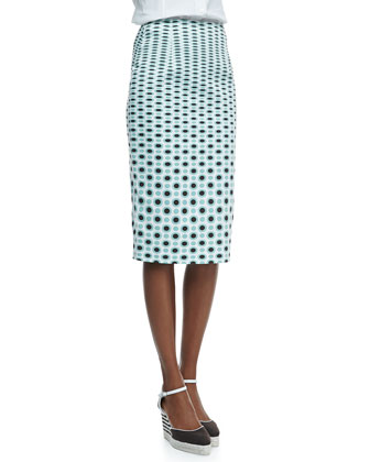 Graduated Dotted-Print Pencil Skirt