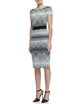 Short-Sleeve Illusion-Print Cotton Sheath Dress