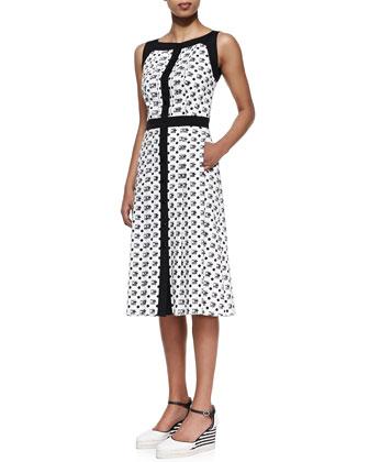 Tile-Print A-Line Dress
