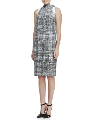 Sleeveless Grid-Print Reverse-Collar Dress, Black/White