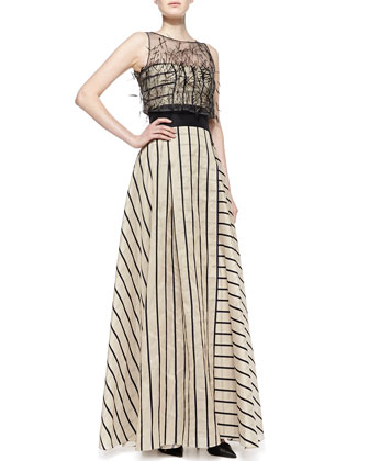 Striped Gown with Sleeveless Illusion, Black/Beige