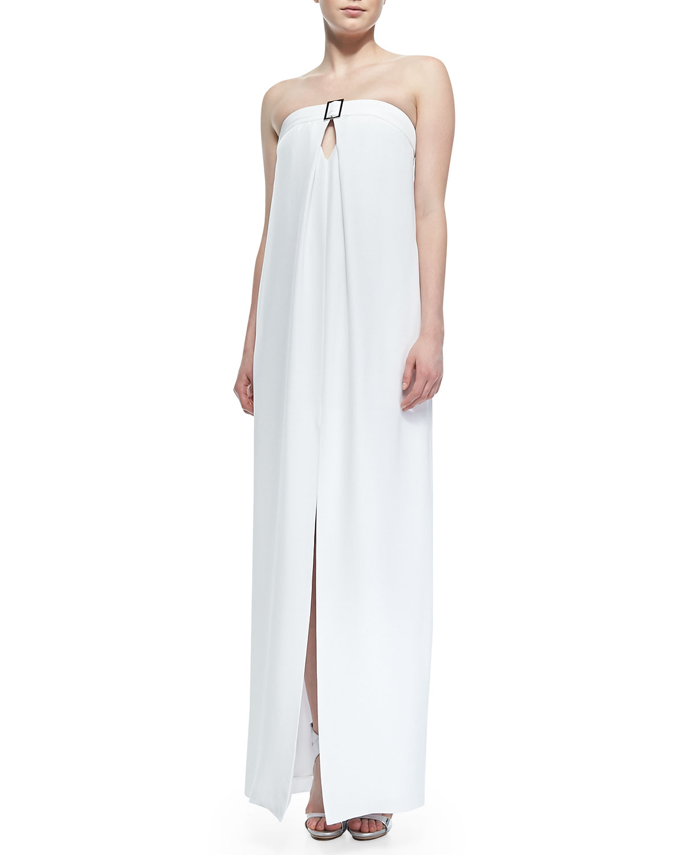 Womens Strapless Center Slit Maxi Dress   Cushnie et Ochs   White (8)