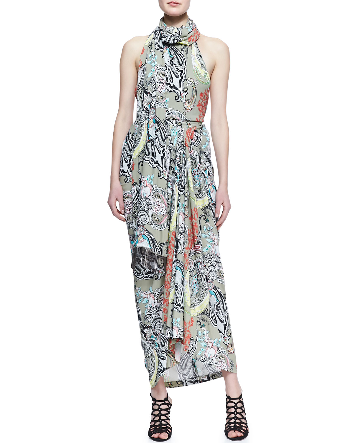 Womens Scarf Neck Menagerie Printed Long Dress   Etro   Gray (38/4)