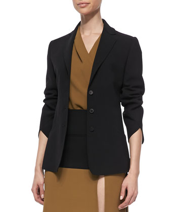 3/4-Sleeve Blazer, Cap-Sleeve Silk Wrap Blouse & Yoked Asymmetric Slit Skirt
