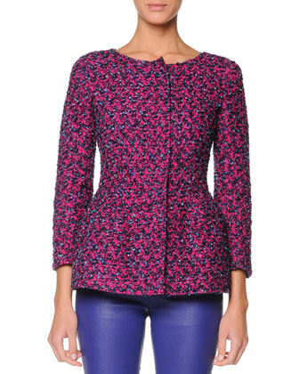 Boucle Peplum Jacket with 3/4 Sleeves, Pink/Cobalt