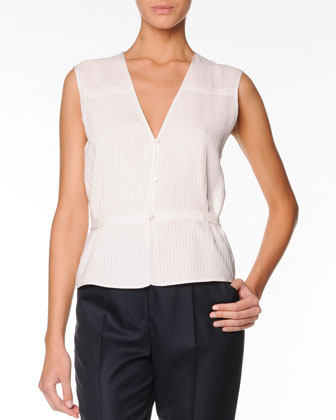 Sleeveless Silk Top with Button Front, Porcelain
