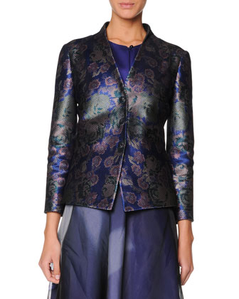Collarless Floral Jacquard Jacket, Sleeveless Buttoned Silk Satin Top & ...