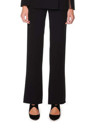 Straight-Leg Silk Cocktail Trousers, Black