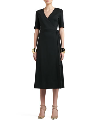 Milano Knit Boot Length Tie Wrap Dress With Pockets