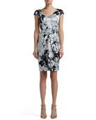 Floral Silhouette Print Stretch Silk Charmeuse Cap Sleeve Dress