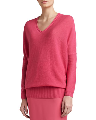 Links Wool-Cashmere Knit Batwing-Sleeve V-Neck Sweater & Crepe Marocain ...