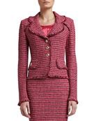 Heathered Dash Tweed Knit Jacket with Pocket Flaps and Fringe
