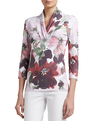 Garden Floral-Print Jersey Shawl-Collar 3/4-Sleeve Tee