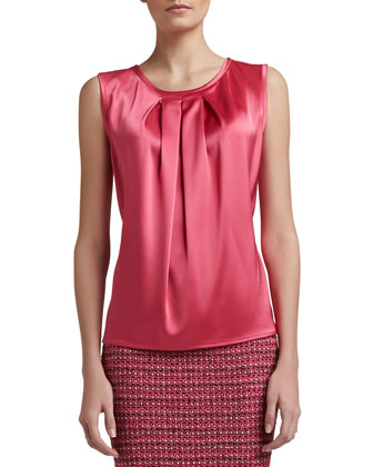 Liquid Satin Shell with Front Pleat, Haute Pink