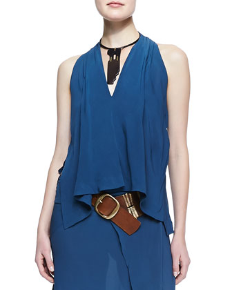 Trompe l'Oeil Easy Jacket, Sleeveless V-Neck Blouse, Ankle-Length Scarf ...