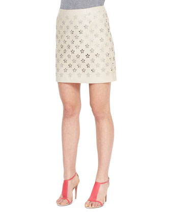 Flower Cutout Leather Skirt, Limestone