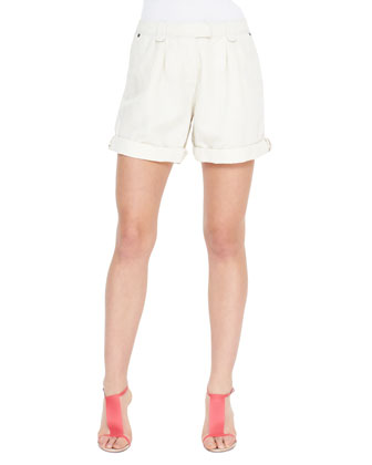 Tailored Cotton-Linen Shorts, Chalk White